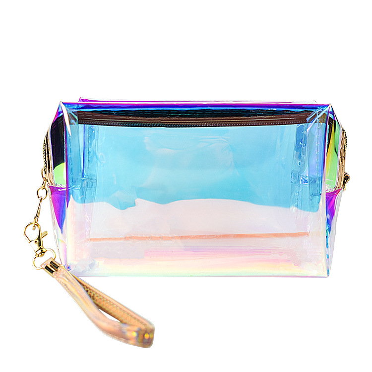 Accept Custom Logo Travel Transparent Vinyl Waterproof Clear Glitter Pvc Cosmetic Bag