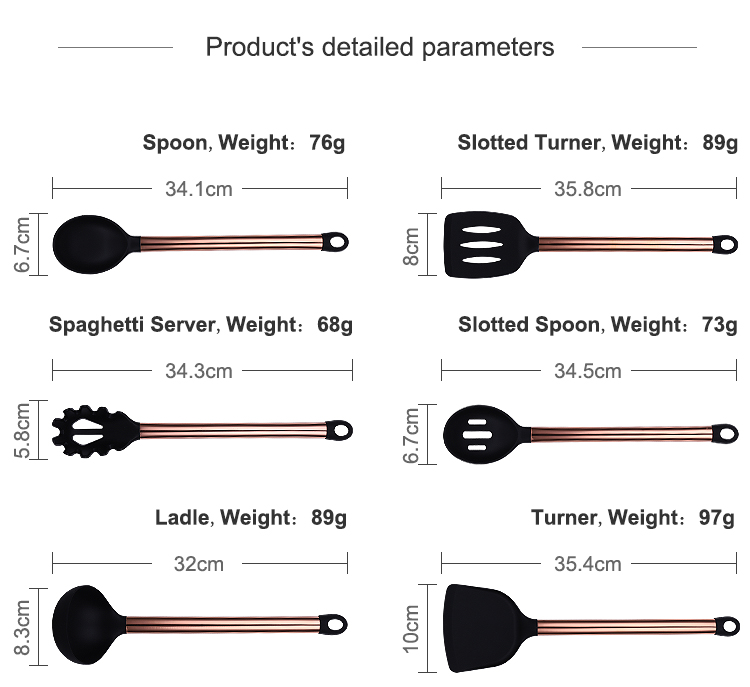 Custom 10 PCS Heat Resistant Stainless Steel Handle Silicone Kitchen Cooking Utensil Tool With Utensil Holder