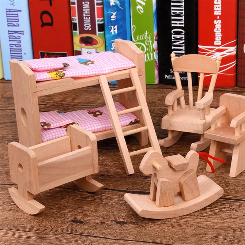 Mini Houten Simulatie Kleine Meubels Speelgoed Set Kinderen Huis Speelgoed Villa Decoratie Accessoires