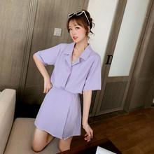 Goddess Fan темпераментный костюм новый маленький костюм с короткими рукавами + короткая юбка с высокой талией и штаны модный костюм из двух пред...(Китай)