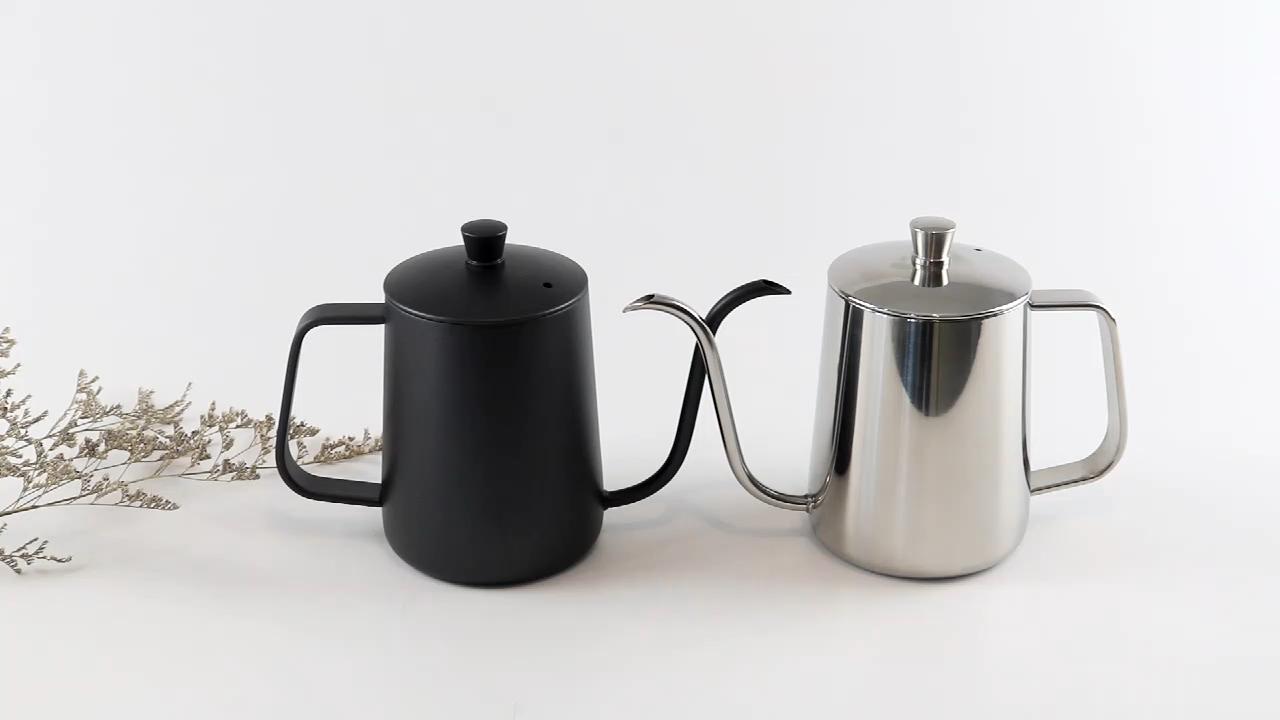 De mano 600ml goteo olla de café té larga y estrecha Caño gruesa de acero inoxidable taza de café