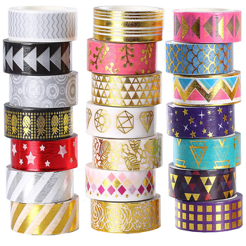 Custom Rolls Foil Washi Tape Manufacturer, 15mm Wide Gold Colored Metallic DIY Craft Washi Masking Tape