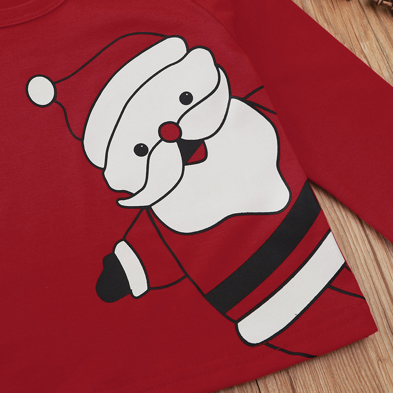 Girls kids suits long sleeves, autumn and winter warmth Christmas special styles red Santa prints middle and kids suits