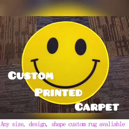 Redondo/Quadrado Logotipo Design De Luxo Não-Slip Interior Tapete de Área Tapete Chão Do Quarto Do Hotel Impresso 3D Personalizado