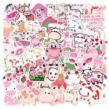 50 шт. Kawaii розовая наклейка с коровой водонепроницаемый ПВХ журнал Декоративные Канцелярские товары ремесленные наклейки игрушка для багаж...(Китай)