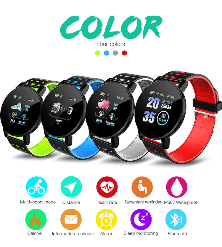2020 Silicone touch screen smartwatch ID119plus fitness health tracker smart wristband