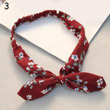 Женская повязка на голову в стиле ретро, головная повязка с принтом кроличьих ушек, узелковая эластичная повязка на голову, тюрбан с цветочн...(Китай)