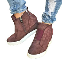 Wholesale Flat Ladies Shoes Wedge Sneakers With Zipper
