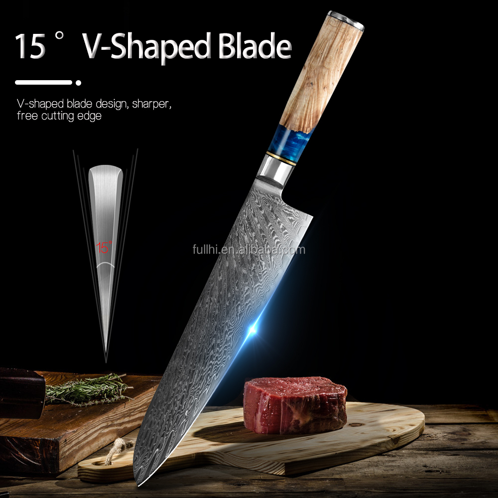 New Luxury Blue Resin Handle 7.5 inch Meat Cleaver Damascus VG10 67 Layers Carbon Steel Kitchen Knives Chinese Chef Knife