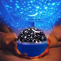 Projector Lamp 360 degree dream rotating projection lamp baby night Light moon star nightlight 4 LEDs 4 Color Changing With USB