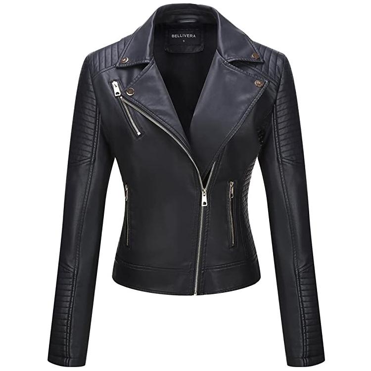 High quality autumn 100% Polyurethane womens genuine leather jacket