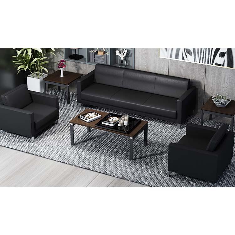 Modern luxury minimalist leather office combination black sofa,