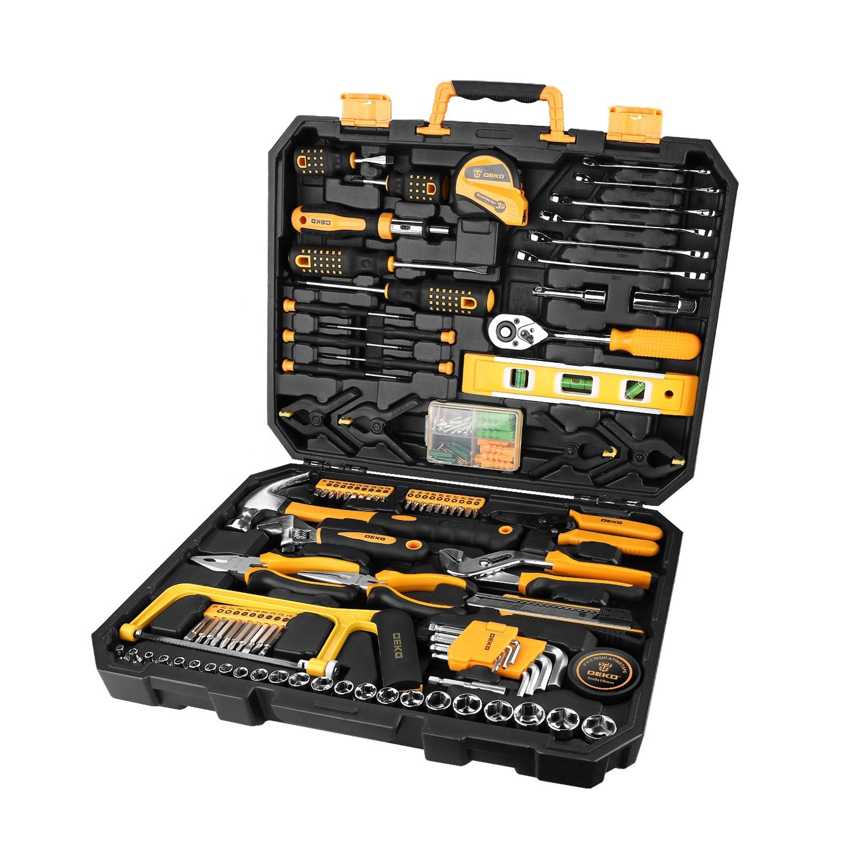 DEKO 168 Pcs Hand Tool Set General Household Hand Tool Kit with Plastic Case