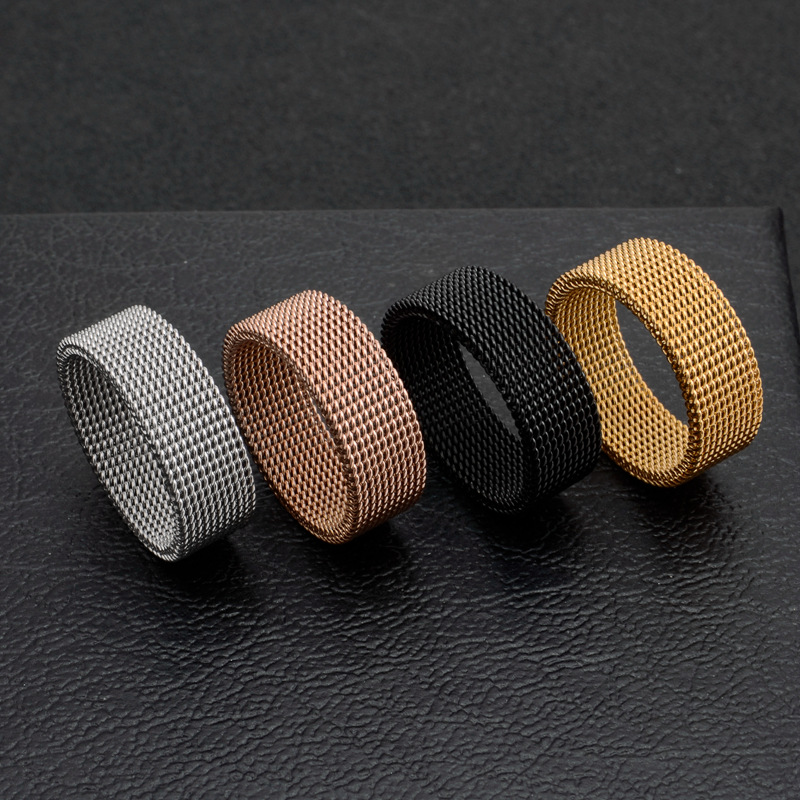 product-Dressy Braided Design Cheap Men Fine Jewelry Mesh Elastic Ring-BEYALY-img
