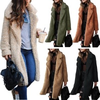 Women Long Jacket Ladies Casual Front Open Cardigan Outwear Fashion Thick Soft Warm Teddy Bear Fleece Fur Fluffy Coat