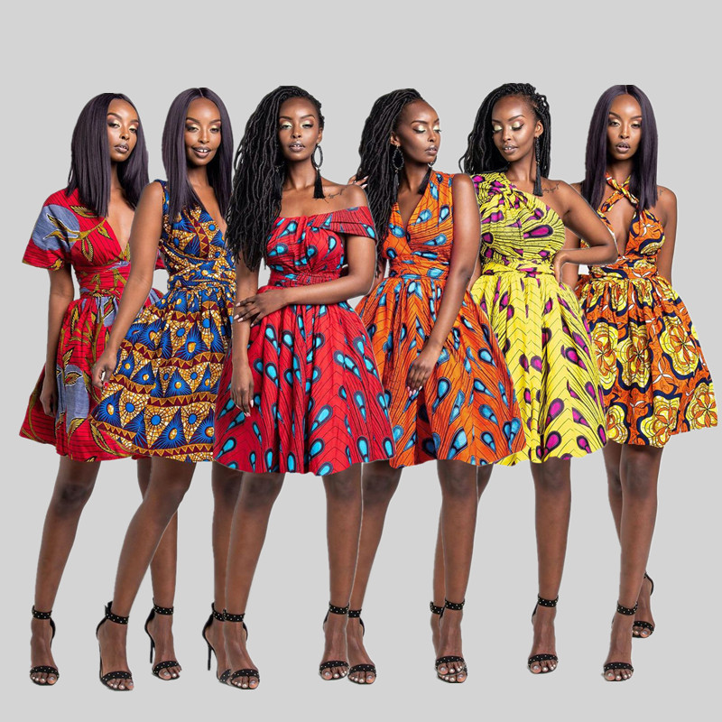गर्म बिक्री थोक अफ्रीकी शैलियों आकस्मिक उच्च कमर एक लाइन मिनी पोशाक अफ्रीकी पारंपरिक कपड़े Dashiki पोशाक