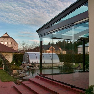 good looking frameless glass sliding folding French terrace door with aluminum profile 3m high