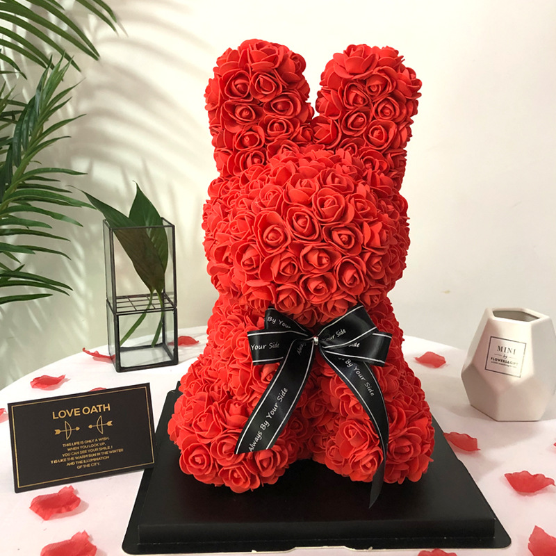 The Forever Rose Bunny Gorgeous 16Inch Handmade Foam Roses <strong>Rabbit</strong> with Elegant Ribbon