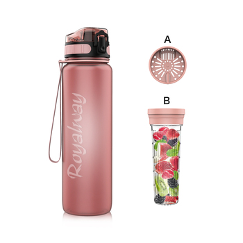 32oz Fruit Infuser BPA Free Tritan sports gym water bottle with time maker