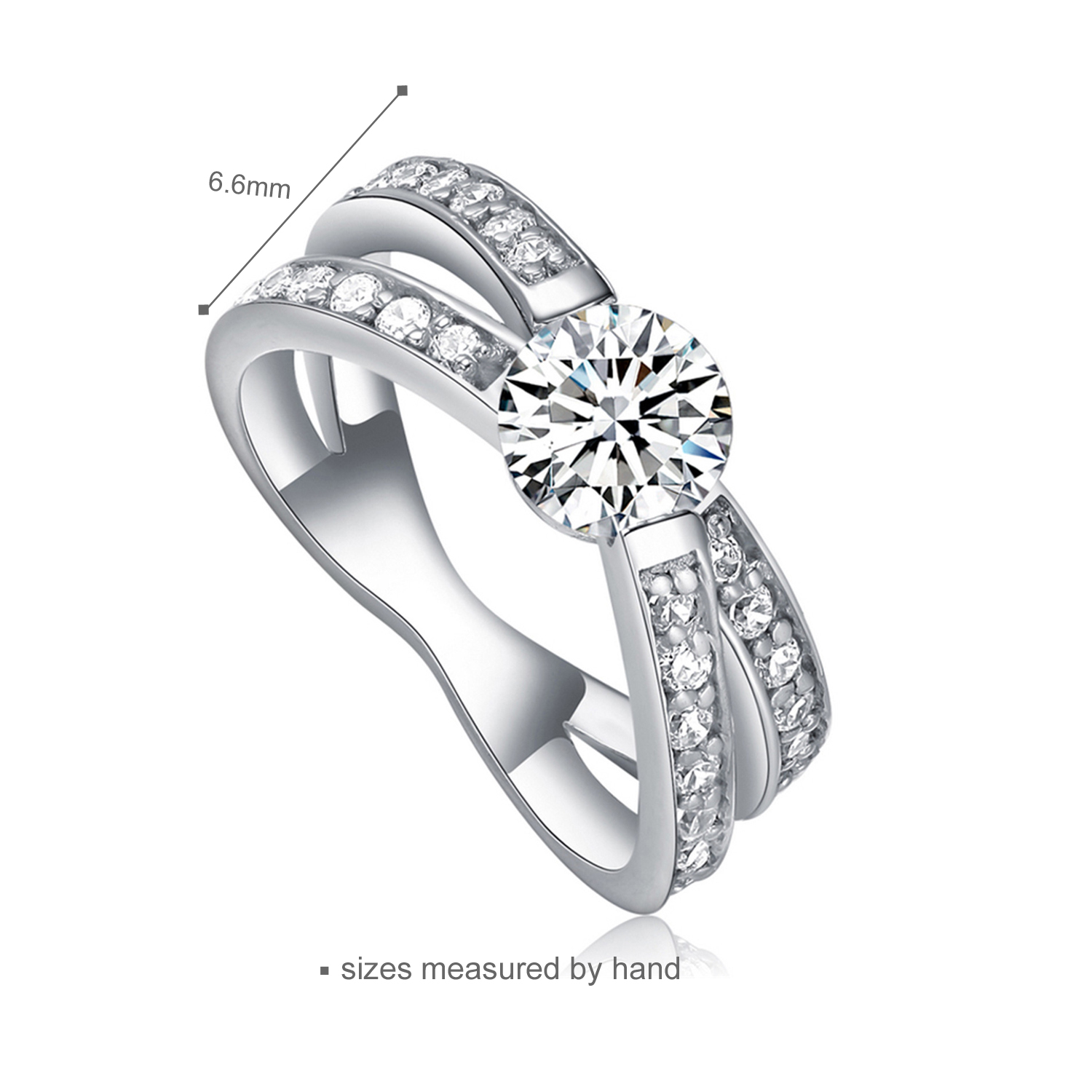 Jewelry Manufacturer wedding engagement rings  Sterling Silver Round Ring Set (图2)