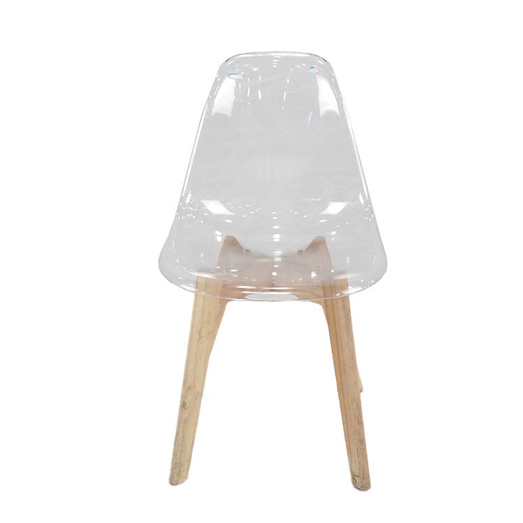 Portátil Silla de comedor muebles de restaurante con la pierna de madera de comedor silla transparente sillas de comedor de China