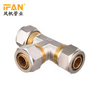 New design Ifan manufacturing dpouble standard pressure pex pipe fitting insert open three ways copper brass equal tee