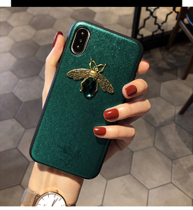 Luxury soft brand Diamond Bee Glitter case for iphone 7 8 6S plus X XR XS 11 Pro Max hard cover for samsung S8 S9 S10 Note 10 9