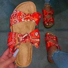 Женские шлепанцы с двумя бантиками, повседневные шлепанцы размера плюс, удобная женская пляжная обувь, 2020(Китай)