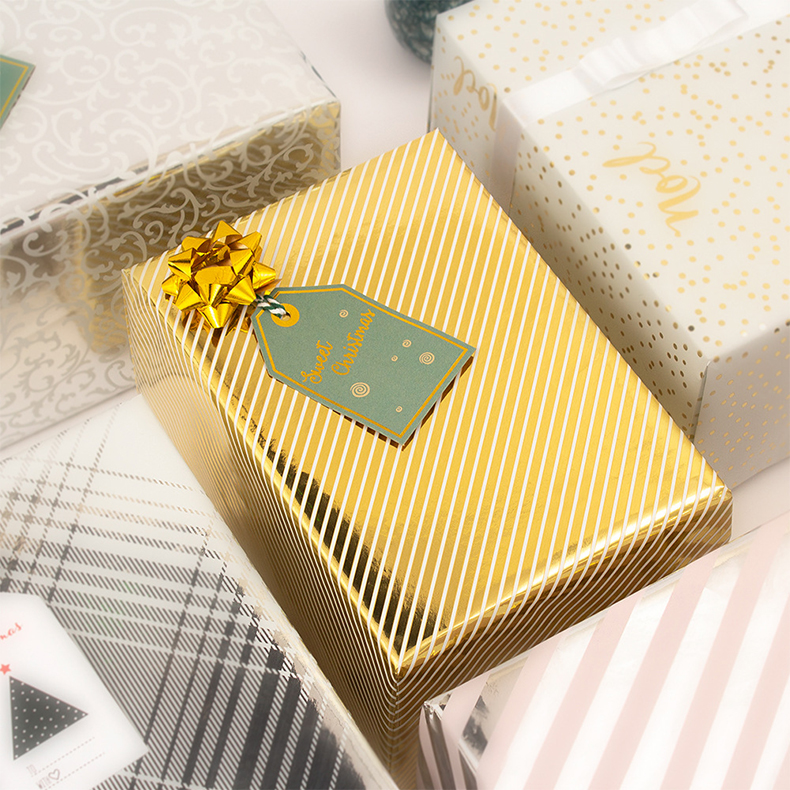 New Products <strong>Christmas</strong> Wrapping <strong>Paper</strong> Gold Foil Stripe <strong>Christmas</strong> Gift Wrapping <strong>Paper</strong> Size 50x70 CM Gift <strong>Tissue</strong> <strong>Paper</strong> Wrapping