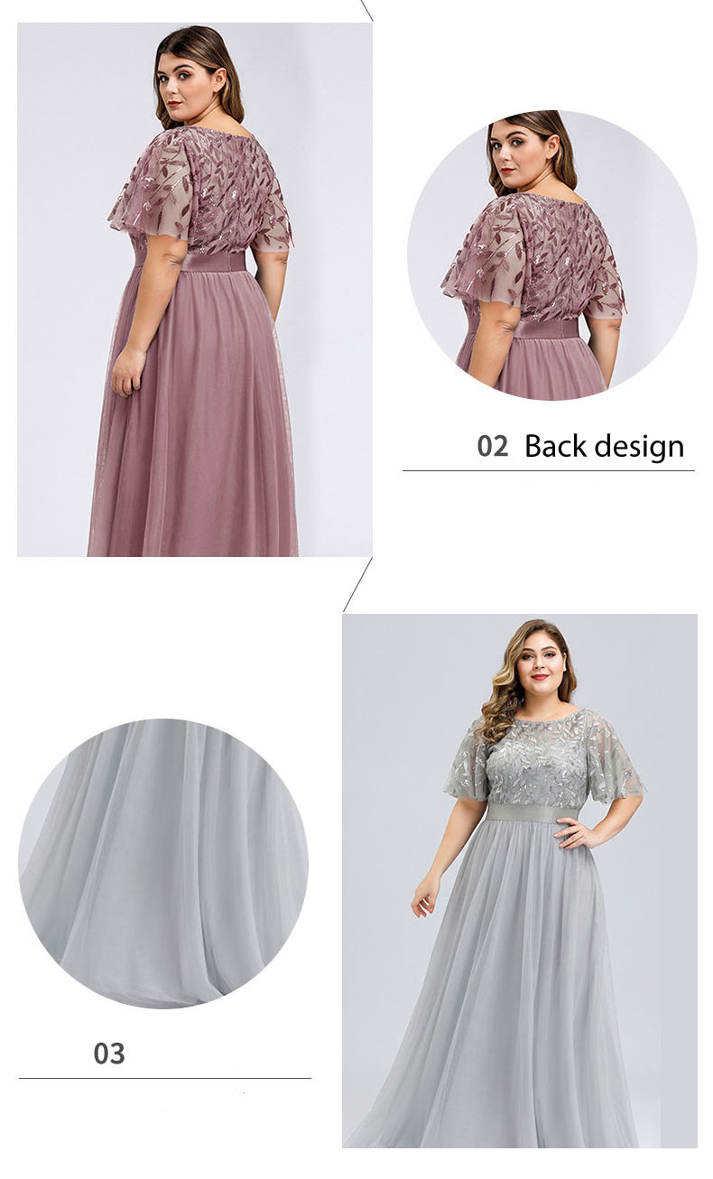 Plus Size Fat Ladies Elegant Solid Color Embroidery Lace Mesh dresses Short Sleeve Women Bridesmaid Formal Evening Maxi Dress