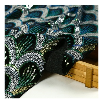 Custom sweet Africa bead embroidered velvet green sequin dress cloth lace fabric