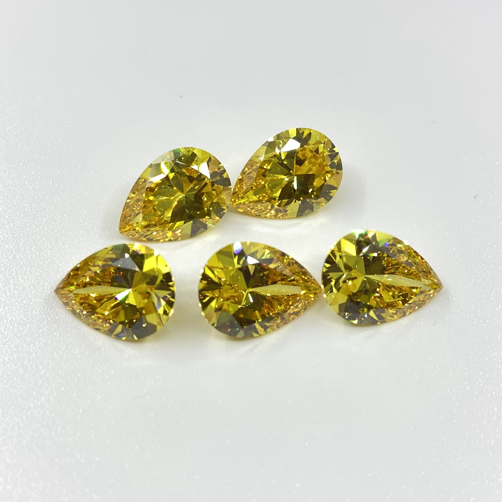 AAA Yellow zircon stone in stock golden <strong>pear</strong> shaped 10x14mm loose cubic <strong>zirconia</strong> stone