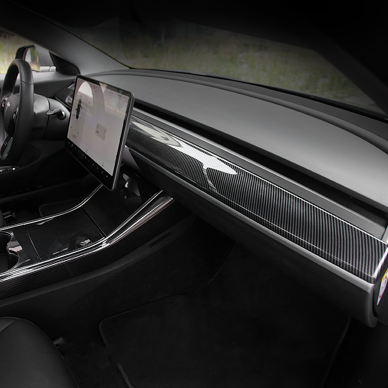 Dashboard Trim <strong>Center</strong> <strong>Console</strong> Panel Covers Steering Wheel Decorative Armres Box Cover for Tesla Model 3 Accessories 2018-2020