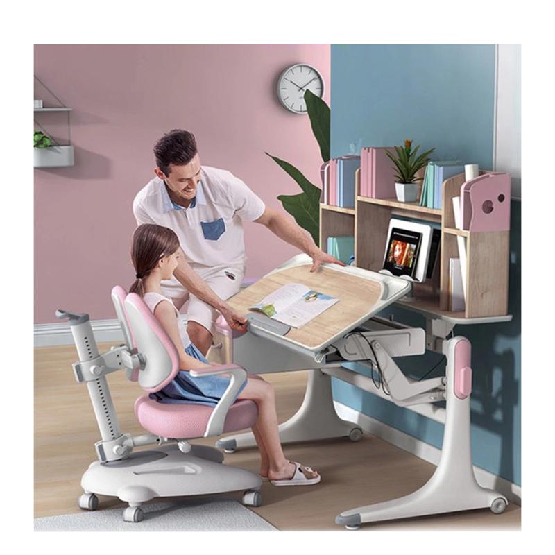 Kids Furniture Adjustable Study Desk, Children Furniture Sets Pink Color Study Desk And Chair Set/