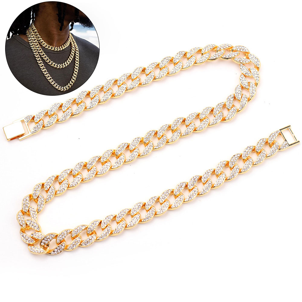 Customized Jewelry diamond hiphop Bling Rhinestone Gold Finish Miami Iced Out Cuban Link Chain Necklace Men's Hip hop Necklace