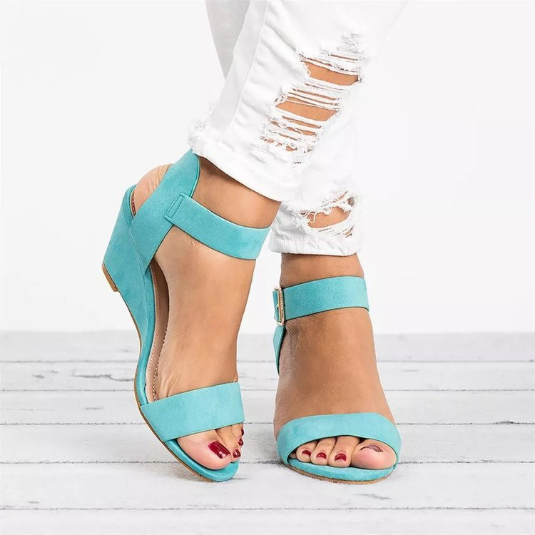 Latest Design Wedges High Heels Summer Fashion Peep Toe Sandals