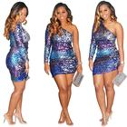 A080572 cheap price sloping shoulder one sleeve bodycon party club sexy fashion colorful sequined women short striped dress