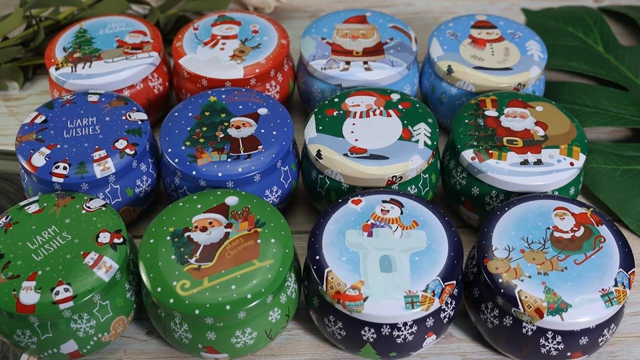المخزون موك منخفضة عالية الجودة جولة معدنية التعبئة حلوى النعناع هدية شمعة داخل عبوة قصدير مربع