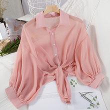 Женские шифоновые укороченные рубашки с рукавом «летучая мышь» и галстуком-бабочкой, однотонная Корейская повседневная женская рубашка 2020...(Китай)