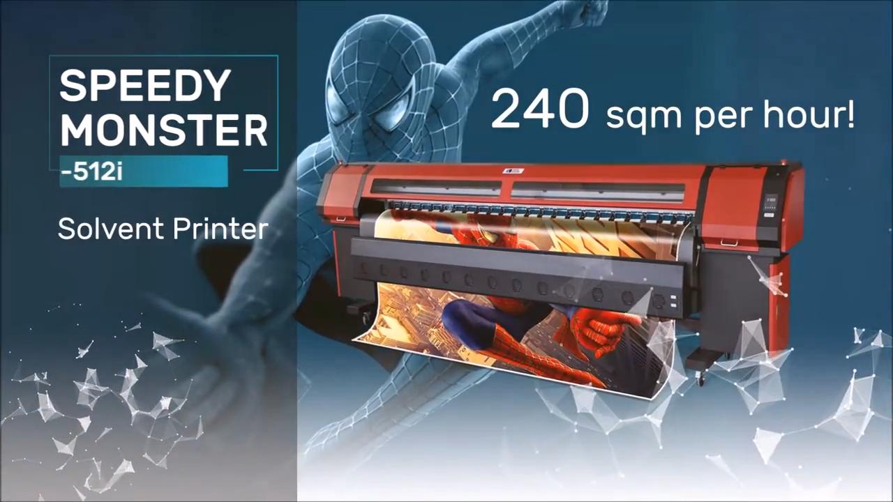 3.2 m hızlı canavar solvent yazıcı Sinocolor KM-512i vinil flex afiş kumaşı sentetik