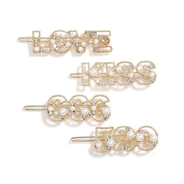 New design Lovely Baroque Pearl Hair Pins, Diamond Letter Word Metal Hair Clips,Fashion Women Rhinestone Hair Clip