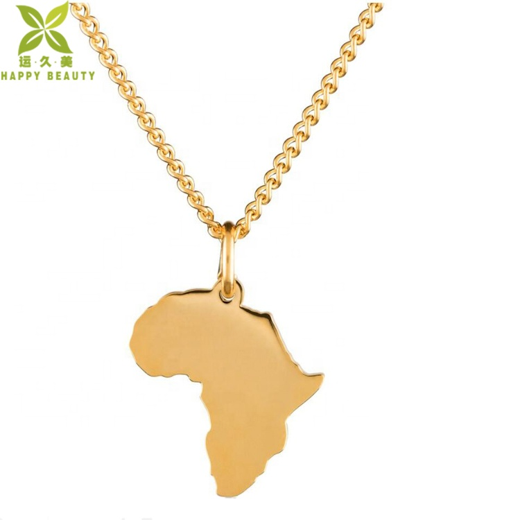 Custom world karte schmuck 18 k gold überzogene afrika karte anhänger halskette und ohrringe