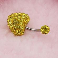 Женское сердце для пупка кольцо Бар Кристальный пирсинг ювелирные изделия для тела(Китай)