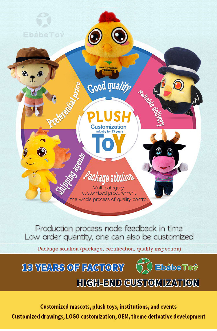Plush toys custom factory proofing quotation corporate mascot logo dolls to figure dolls OEM processing