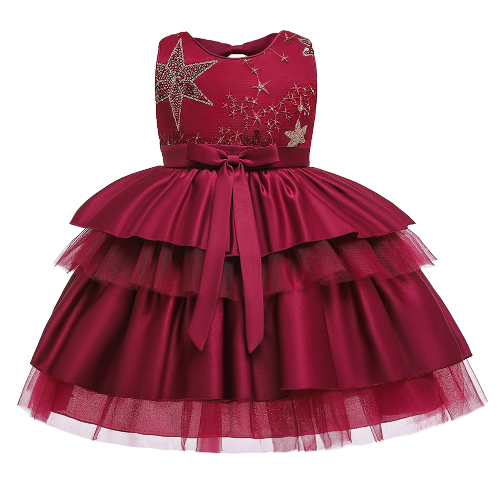 China party puff dress sequins red dress girls clothes kids bridal dresses