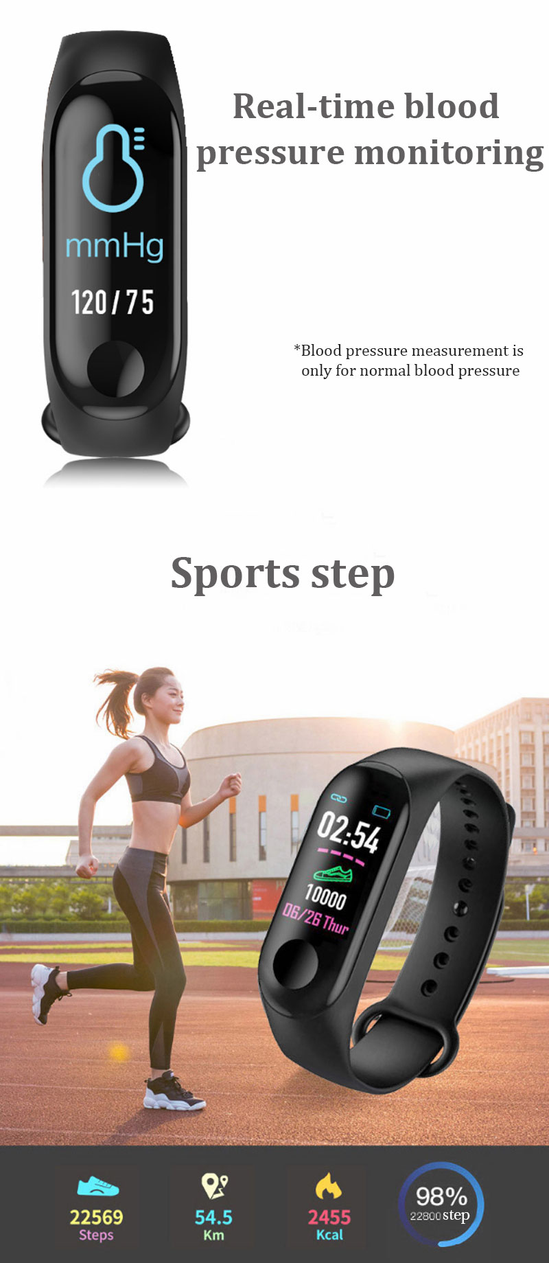 M3 PLUS smart bracelet new color screen wristband  blood pressure heart rate monitoring waterproof sports bracelet