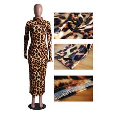2019 сексуальный Камуфляжный леопардовый комплект из двух предметов, Женская Осенняя праздничная одежда, укороченный топ и Макси-платье с от...()