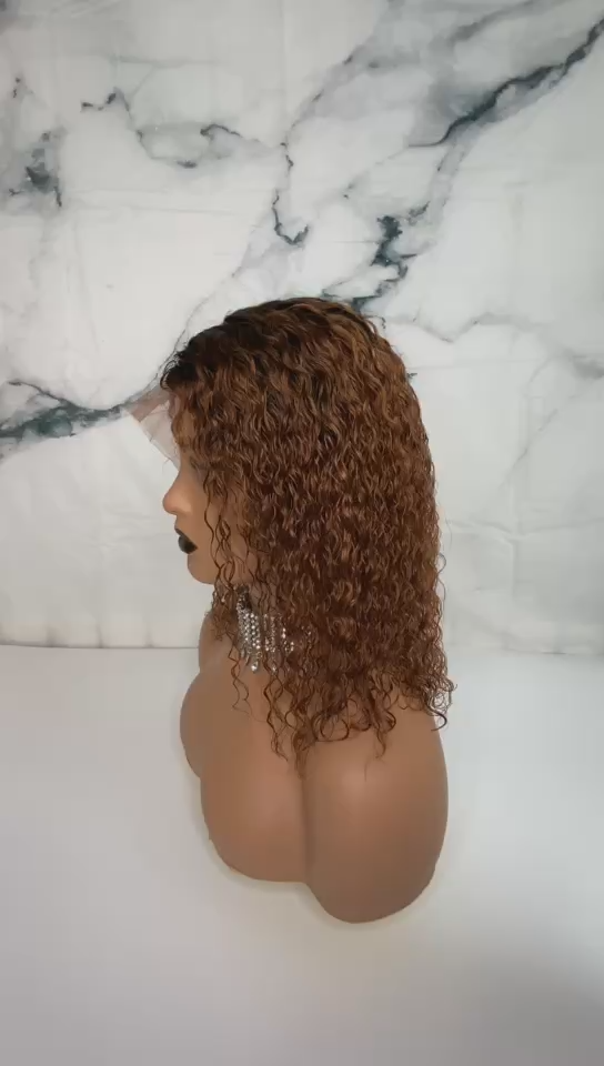 Ombre T1B/27# Bob Lace Front Wigs Human Hair 13x6 Brazilian Virgin hair Short Curly Wigs Cuticle Pre Plucked