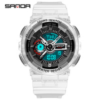 SANDA Factory Waterproof transparent clear jelly strap women sport watch