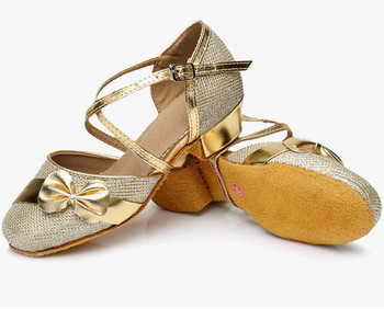 Children Latin Dance Shoes Gold Bowknot